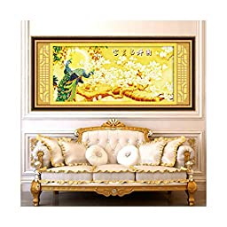 Diamond Painting Diamond Stitch 5D Wealth and Auspacious Living Room Round Diamond Paste Cross Stitch Peacock Magnolia Denudata
