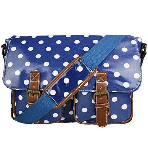 Blue & White Polka Dot Spot Oilcloth Ladies Satchel Fashion Handbag