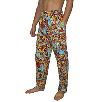 Mens Marvel Comics Ironman Cotton Sleepwear / Pajama Pants - Multicolor (Size: L)