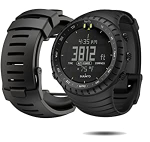 Suunto Core Wrist-Top Computer Watch with Spare Replacement Band Bundle (All Black with All Black Rubber Replacement Band)