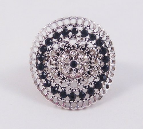 New Stunning Curved Stretch Ring with Black Crystals