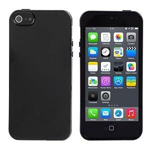 iHarbort Stilvolle Gelee Gel TPU Weich hülle case Silikon Schutzhülle für Apple iPhone 5 5S Tasche Etui Mit Displayschutzfolie Schwarz