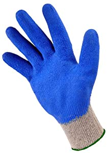 G & F 3100-10 Heavy Duty String Knit Cotton Glove with Latex Double Dipped Coating, Large, 10- Pack