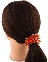 Anuradha Art Orange Colour Classy Look Hair Accessories Hair Band Stylish Rubber Band For Women/Girls