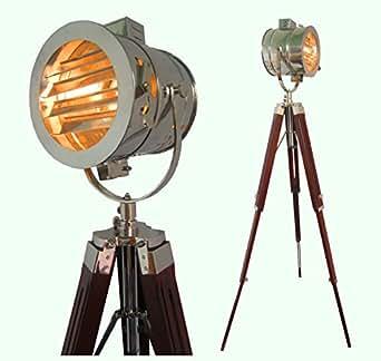 Hand made antique floor searchlight spot studio tripod for Tripod spotlight floor lamp india