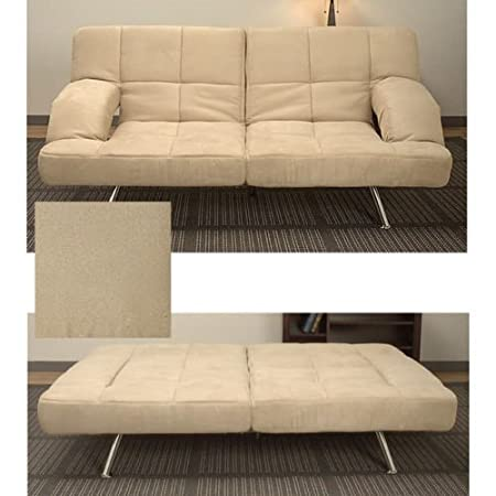 Ikcona Microsuede Sofa Bed, Enhance the overall appeal of your living space with this elegant Ikcona microsuede sofa bed that features easy-to-clean upholstery and a four-position click mechanism for convenience. This bed also has a versatile design that