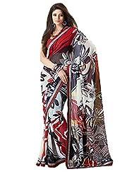 Indian Designer Sari Graceful Floral Printed Faux Georgette Saree By Triveni - B00NGFBEVU