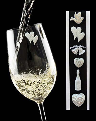 Simply Charmed Wedding Wine Charms - Elegant Magnetic Glass Markers that Work on Champagne Flutes and Stemless Glasses too - Set of 6