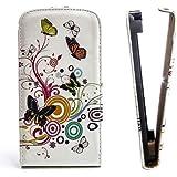 Butterfly Handy Tasche Flip Case Schutz Hülle für Samsung S5360 Galaxy Y / Young Flower Design Muster QJC-146 Cover Etui Bag Neu