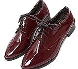 MIELIKKI レディース おじ 靴 オックスフォード フラット シューズ 2色 23㎝ 24㎝ (23cm, 赤茶(ボルドー))
