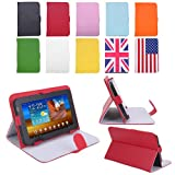 "HDE Universal 7"" Leather Folding Folio Tablet Case Cover (Red)"