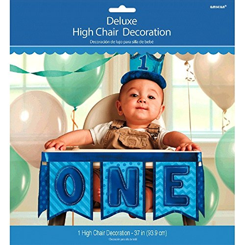 "Amscan 1st Birthday Deluxe High Chair Decoration, 37"", Blue"