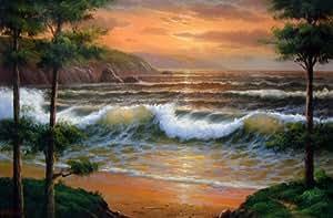 Amazon.com: Hawaii Big Wave Ocean and Sea Oil Painting Canvas Art Wall