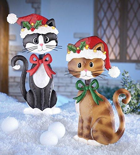Set of 2 Adorable Metal Christmas Cats