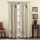 CHF & You Alesandra Floral Embroidered Faux Silk Window Curtain Panel, Ivory, 44-Inch X 63-Inch