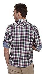 Yuvi Men's Slim Fit Cotton Shirt (10001987_White Blue_XL)
