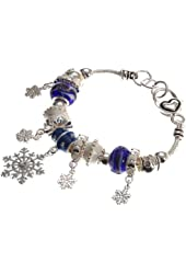 "Lova Jewelry ""Christmas Snowfall"" Murano Glass Beaded Charm Bracelet"