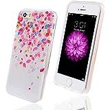 WeLoveCase F�r iPhone 5 5S Soft TPU Premium Verschiedene Muster bunt Pattern H�lle Handy Case D�nne Tasche Cover Schutzh�lle f�r Apple iPhone 5 5S (Bl�tenbl�tter)