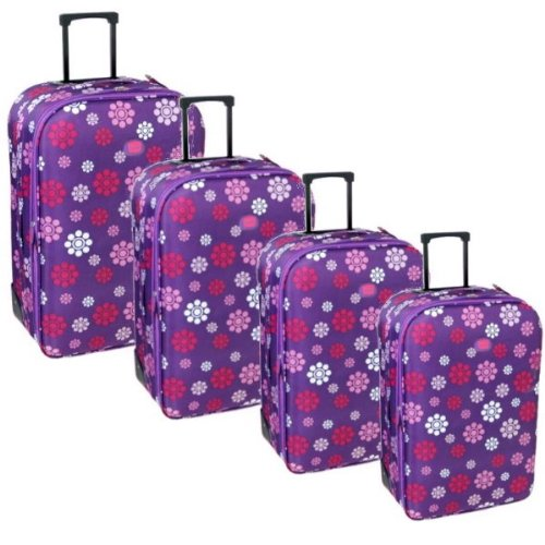 Karabar Super Lightweight Set of 4 Expandable Suitcases (Daisy Purple)