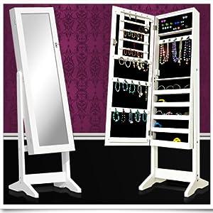 Armoire de rangement pour bijoux avec miroir blanche 146 cm