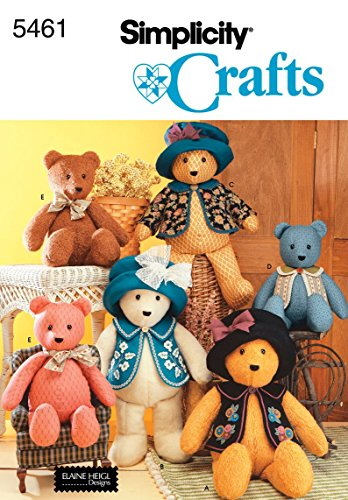 Discover Bargain Simplicity 5461 Sewing Pattern - Classic 18 and 22 Inch Stuffed Bears with Clothes