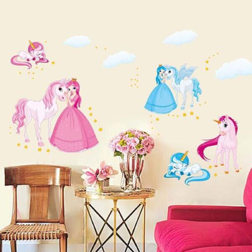 hallobo wandtattoo einhorn wandaufkleber prinzessin wandsticker kinderzimmer m dchen kinder baby. Black Bedroom Furniture Sets. Home Design Ideas
