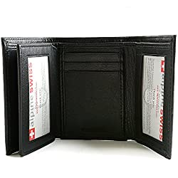 Alpine Swiss Mens Wallet RFID Blocking Extra Capacity Multi Card Trifold by alpine swiss