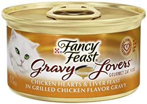 Fancy Feast Wet 24-Pack Gravy Lovers Chicken Hearts and Liver Feast in Grilled Chicken Flavor Gravy Can, 3-Ounce