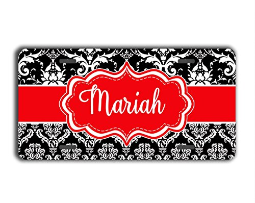 To Gild The Lily® Damask monogrammed gift license plate - Black and white floral damask with red - Personalized car tag car accessory (Unusual License Plate Frames compare prices)