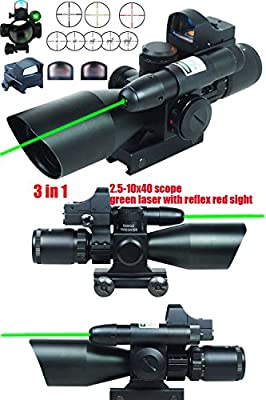 Ledsniper® 3 in 1 Combo 2.5-10x40 Tactical Rifle Scope w/ green Laser & Mini Reflex 3 MOA Red&green Dot Sight by Ledsniper®