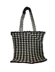 Bhamini Croeso Hand Knit Ethnic Bag (Black)
