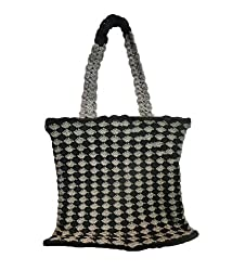 Bhamini Croeso Hand Knit Ethnic Bag (Black)