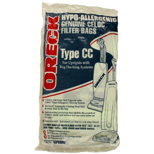 Oreck Hypo-Allergenic Genuine Celoc Filter Bags Type CC 8-Pack