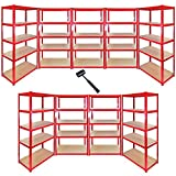9 x 90cm Red Garage Shelving Units / Utility Shed / Warehouse Shelving Bays