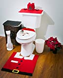 3 Pcs Santa Claus Toilet Tank Lid Cover + Floor Mats Plus + Tissue Box Cover Set Christmas Decorations