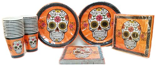 Halloween Themed Party Disposable dinnerware Bundle. 24 Disposable Plates, 24 cups, 40 Napkins. (Halloween Looks)