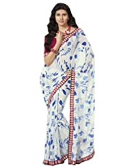 Prafful Gorgette Printed Saree With Unstitched Blouse - B00KNUPONU