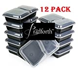 (12 Sets) 2 Compartment Rectangular Plastic Food Storage Containers with Lids, Microwave Safe/ Divided Plate, Bento Box, Reusable Lunch Box for Kids, Tray w/ Cover,