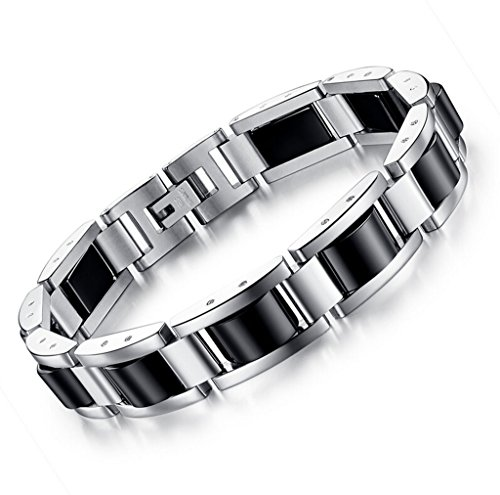 Feraco Men Sleek Stainless Steel Magnetic Therapy Bracelet in Velvet Gift Box with Free Link Removal Tool