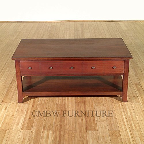 4Ft Wide Distressed Solid Mahogany 1-Drawer Coffee Table