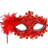 Coxeer® Fancy Lace with Rhinestone Liles Venetian Masquerade Mask
