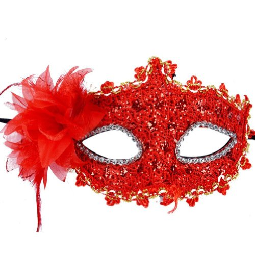 Red Lace Venetian with Rhinestone Liles Masquerade Party Mask Halloween by iBUY365