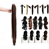 Synthetic Claw Ponytail Heat Resistant Handy Jaw Pony Tail One Piece Long Straight for Women Lady Girls 26'' / 26 inch (dark brown mix dark blonde)