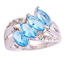buy Psiroy 925 Sterling Silver Stunning Created Gorgeous Women'S 5Mm*3Mm Marquise Cut Blue Topaz Cz Filled Ring