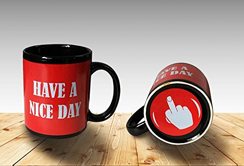 Funny Coffee Mug Have a Nice Day Middle Finger Funny Cup 11oz 100% Ceramic Mug Red (Finger Coffee Cup compare prices)