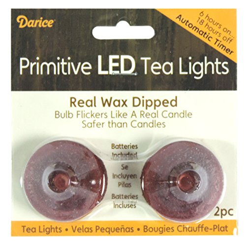 Halloween Decor L E D Tea-Lights Wax Dipped Burgundy Sand With Timer 2 Count