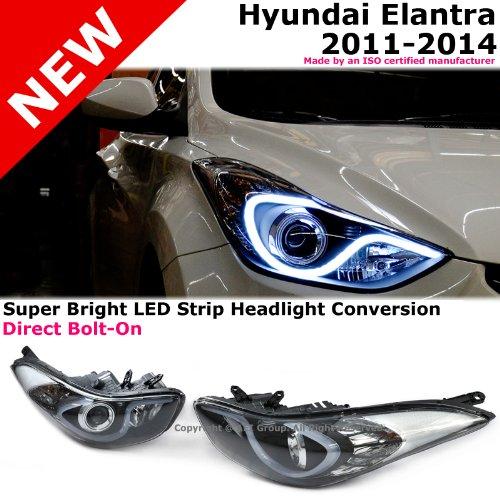 Elantra 11-14 Black Housing Headlights Lamps White Led Strip Conversion