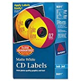CD Labels, Inkjet Matte, 100/PK, White