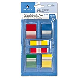 Flag Kit, w/Pop-up Dispenser, Removable, 270 Flags, Assorted