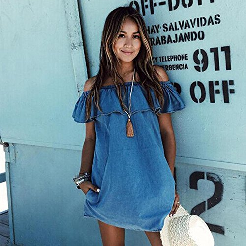 KeyZone Perfect Beautiful Word Get Ruffled Dress Summer Beach Casual Party Short Mini Strapless Dress XL